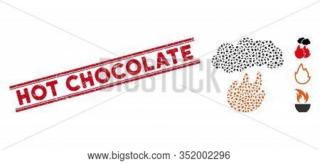 Corroded Red Stamp Seal With Hot Chocolate Caption Between Double Parallel Lines, And Mosaic Fire Wi
