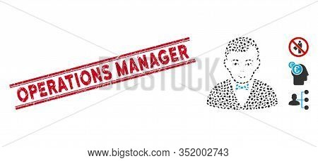 Corroded Red Stamp Watermark With Operations Manager Caption Between Double Parallel Lines, And Mosa