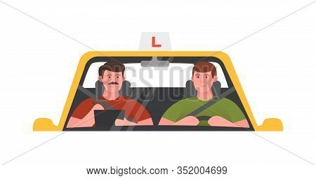 Driving School Illustration. Training Car, Takes An Exam. Isolated Vector Illustration