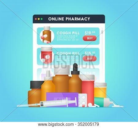 Online Pharmacy. Buying Pills Online Via Web Site. Pop-up Window Order Medicine. The Concept Of Onli