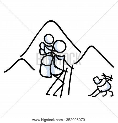 Hiking Stick Figure Line Art Icon. Carrying Backpack, Track Pole And Kids.leisure Walking, Climbing