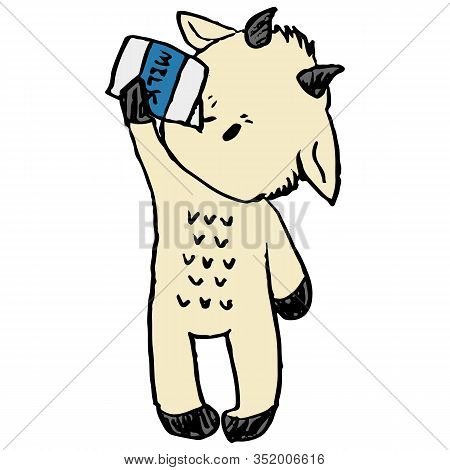 Cute Funny Goat Drinking Milk In Naive Style Vector Clipart. Alpine Baby Billy Goat With Horns. Kawa
