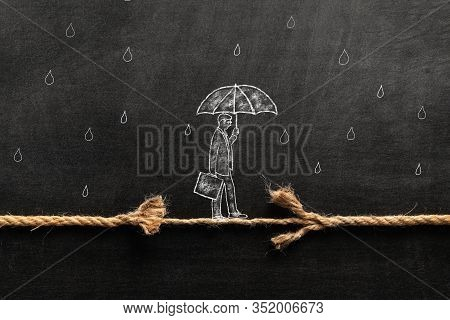 Illustrated Businessman Is Walking On A Thiny And Frayed Rope, Metaphoring Risky Business Life An Ca