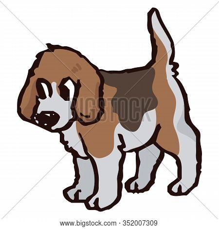 Cute Cartoon Foxhound Puppy Hunting Dog Vector Clipart. Pedigree Kennel Baby Doggie Breed For Dog Lo