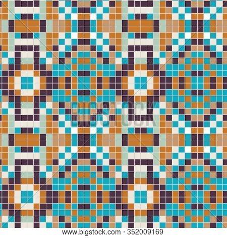 Portuguese Azulejos Tiny Tiles Vintage Pattern Background. Colorful Pixel Grout Graphic Ceramic Desi