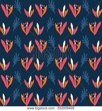 Classic Blue Bold Vector Summer Bloom Floral Motif Seamless Pattern. Hand Painted Bird Of Paradise F