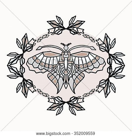 Vintage Art Deco Butterfly Wreath Fram Vector Motif Set. Stylised 1920s Style Geometric Design Eleme