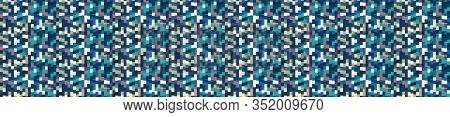 Classic Blue Vector Close Up Mini Pixel Grid Mosaic. Texture Banner Background. Dark Abstract Tiny M