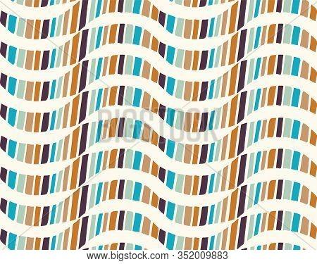 Mid Century Modern Vintage Pattern Background. Wave Stripe Masculine Graphic Design. Seamless Wavy 1