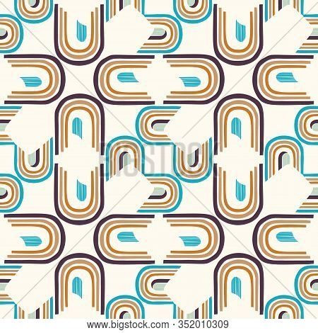 Mid Century Modern Vintage Pattern Background. Architectural Archway Trend Shape. Seamless 1970s Sty