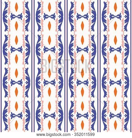 Bold Summer Stripe Classic Blue Red On White Background. Vertical Mariner Style Seamless Pattern. Et