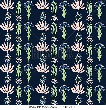 Classic Blue Daisy Floral Posy Motif Background. Naive Blossom Flower Seamless Pattern. Ditsy Elegan