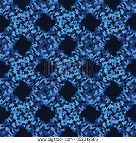 Classic Blue Close Up Woven Texture Background. Dark Abstract Interlocking Pixel Grid Mosaic Seamles