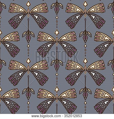 Vintage Art Deco Butterfly Vector Seamless Pattern. Stylised Gold 1920s Style Geometric Moth Bug Dam