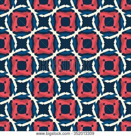 Classic Blue Hand Drawn Spotty Polka Dot Seamless Pattern. Mariner Style Geometric Circle Background