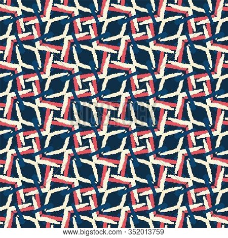 Classic Blue Hand Drawn Rope Net Seamless Pattern. Mariner Style Woven Background In Indigo Red. Han