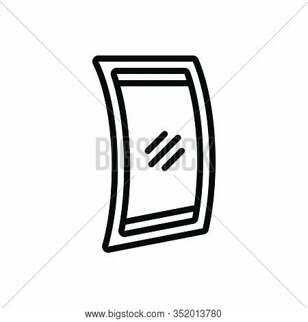 Black Line Icon For Flexible-display Resilient Pliable Springy Malleable Pliant Device Electronic Co