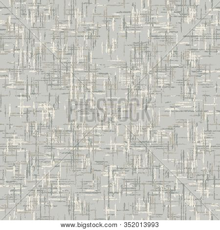 Unbleached Gray French Linen Texture Background. Old Ecru Flax Fibre Seamless Pattern. Distressed Ir