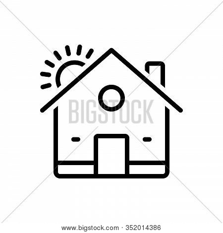 Black Line Icon For House Residence Homestead Habitation Premises Mansion Domicile Architecture Prop