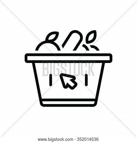 Black Line Icon For Supermarket Variety-store Grocery Store Basket Trolly Shopping Purchase Consume