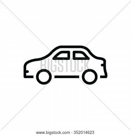 Black Line Icon For Car Conveyance Carriage Transportation Transit Automotive Vehicle Automobile