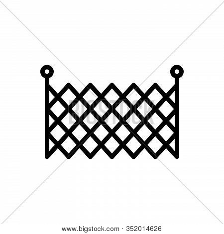 Black Line Icon For Defense Fence Barricade Barbed-wire Stockade Palisade Security Mesh Rampart