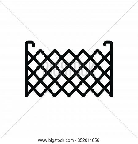 Black Line Icon For Fence Barricade Barbed-wire Stockade Palisade Security Mesh Rampart Defense