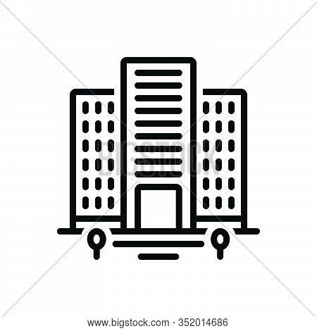 Black Line Icon For Flats House Residence Apartment Homestead Habitation Premises Mansion Domicile A