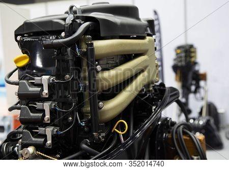 Black Speed Boat Marine Diesel Engine ; Engineering Equipment Background