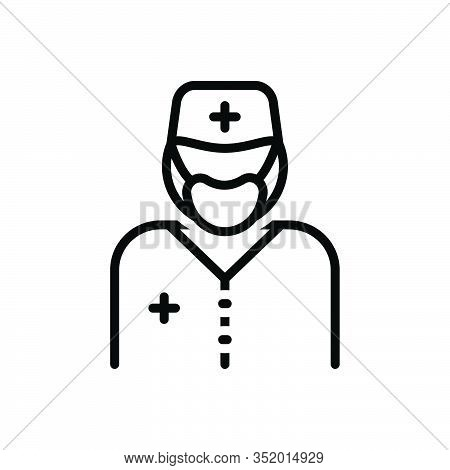 Black Line Icon For Surgeon Sawbones  Specialist Doctor Healer Physician Therapist Surgery Operation