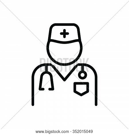 Black Line Icon For Doctor Surgeon Stethoscope Sawbones Specialist Healer Physician Therapist Surger