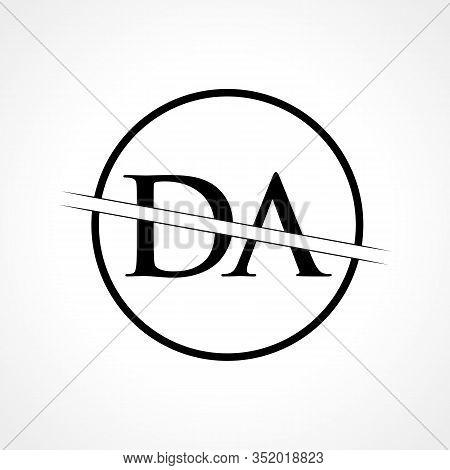 Initial DA Letter Logo Design Vector Template With Black Color. DA Logo Design