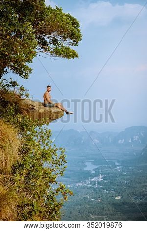 Khao Ngon Nak Nature Trail Krabi Thailand Or Dragon Crest, Man Climbed To A Viewpoint On The Top Of