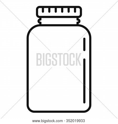 Plastic Protein Jar Icon. Outline Plastic Protein Jar Vector Icon For Web Design Isolated On White B