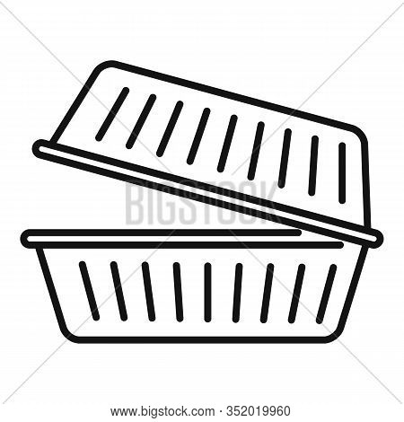 Takeout Food Container Icon. Outline Takeout Food Container Vector Icon For Web Design Isolated On W