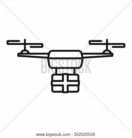 Postal Drone Delivery Icon. Outline Postal Drone Delivery Vector Icon For Web Design Isolated On Whi