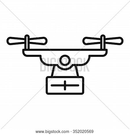Export Drone Delivery Icon. Outline Export Drone Delivery Vector Icon For Web Design Isolated On Whi