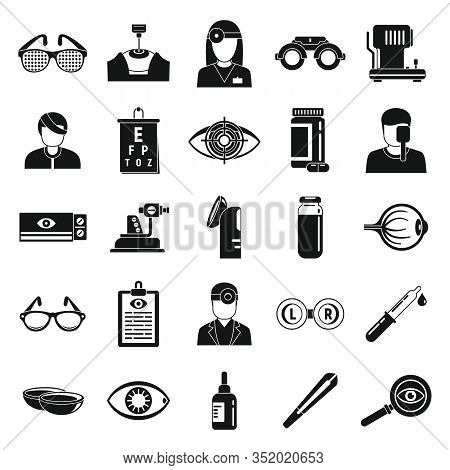 Doctor Eye Examination Icons Set. Simple Set Of Doctor Eye Examination Vector Icons For Web Design O