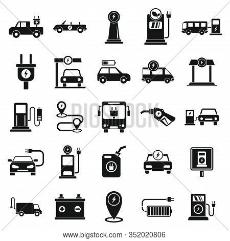 Electrical Refueling Icons Set. Simple Set Of Electrical Refueling Vector Icons For Web Design On Wh