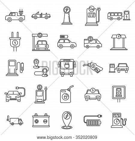 Electrical Refueling Car Icons Set. Outline Set Of Electrical Refueling Car Vector Icons For Web Des