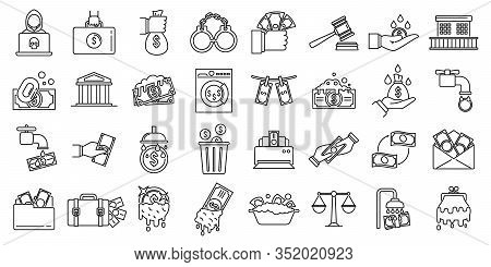 Money Laundering Offshore Icons Set. Outline Set Of Money Laundering Offshore Vector Icons For Web D