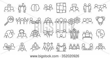 Collaboration Icons Set. Outline Set Of Collaboration Vector Icons For Web Design Isolated On White