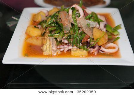 Squid Pineapple Celery Tomatoe