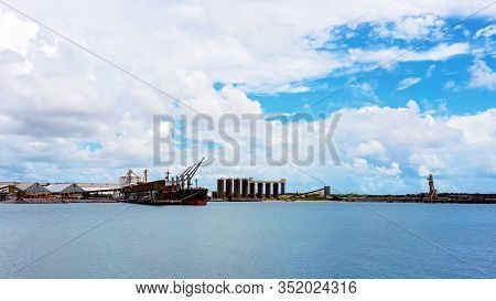 Mackay, Queensland, Australia - February 2020: A Ship Moored At The Port Wharf Ready To Lead Produce