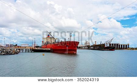 Mackay, Queensland, Australia - February 2020: The Ship Manchac Sun Moored At The Port Wharf Ready T