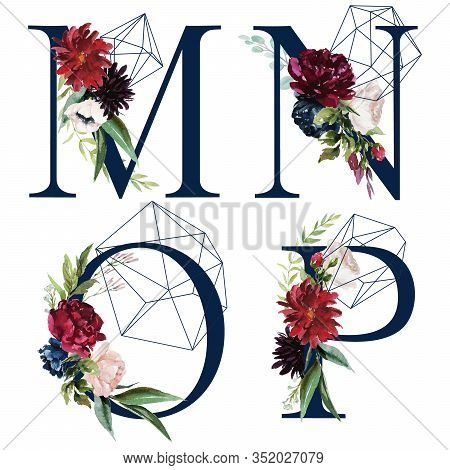 Floral Alphabet Set - Letters M, N, O, P, With Flowers Bouquet Composition And Delicate Navy Geometr