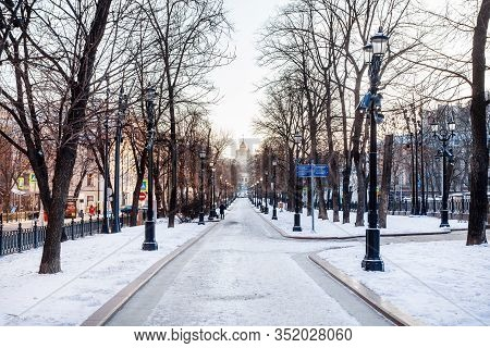 Moscow, Russia - February 8, 2020: View Of Snow-covered Petrovsky Boulevard In Moscow City In Sunny