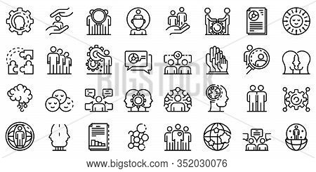 Sociology Icons Set. Outline Set Of Sociology Vector Icons For Web Design Isolated On White Backgrou