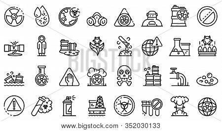 Biohazard Icons Set. Outline Set Of Biohazard Vector Icons For Web Design Isolated On White Backgrou