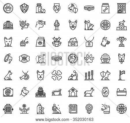 Dog Handler Icons Set. Outline Set Of Dog Handler Vector Icons For Web Design Isolated On White Back